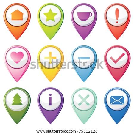 Set of navigation pins - stock vector