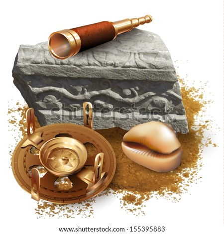 Set of navigation tools and a shell, isolated on white background