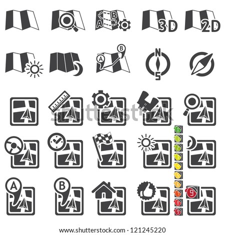 Set of navigational icons - stock vector