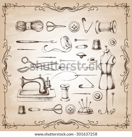 Set of needlework - scissors, measuring tape, mannequin, sewing and . Retro vintage style. Vector illustration. - stock vector