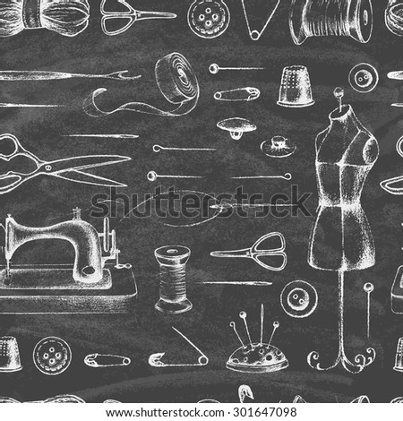 Set of needlework - scissors, measuring tape, mannequin, sewing on the chalkboard . Retro vintage style. Seamless pattern. Vector illustration. - stock vector
