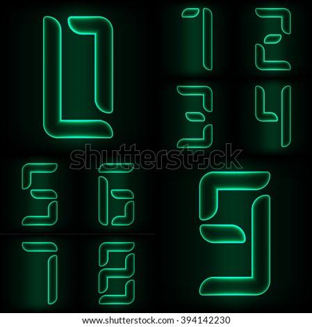 Set of neon glass numbers from zero to nine - stock vector
