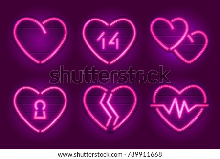 set of neon heart signs happy valentines day decoration elements neon signs on a - Valentine Signs