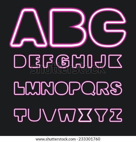 Set of neon letters, vector - stock vector