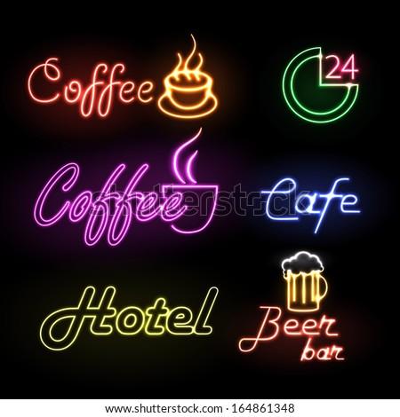 Set of neon sign - stock vector