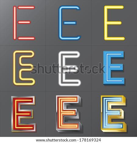 Set of Neon Style Alphabet E, Eps 10 Vector, Editable for Any Background, No Clipping Masks - stock vector