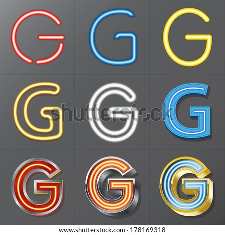 Set of Neon Style Alphabet G, Eps 10 Vector, Editable for Any Background, No Clipping Masks - stock vector