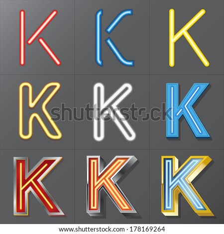 Set of Neon Style Alphabet K, Eps 10 Vector, Editable for Any Background, No Clipping Masks - stock vector