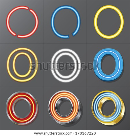 Set of Neon Style Alphabet O, Eps 10 Vector, Editable for Any Background, No Clipping Masks - stock vector