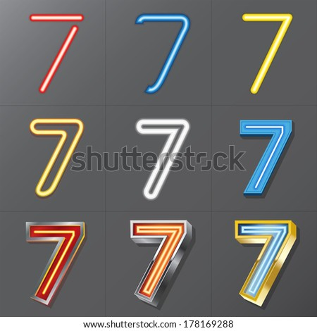 Set of Neon Style Number 7, Eps 10 Vector, Editable for Any Background, No Clipping Masks - stock vector
