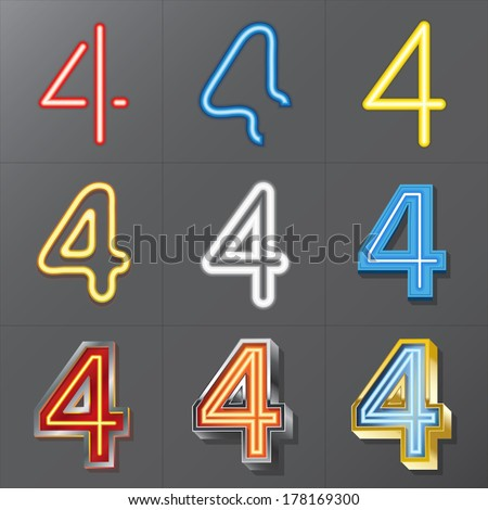Set of Neon Style Number 4, Eps 10 Vector, Editable for Any Background, No Clipping Masks - stock vector