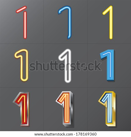 Set of Neon Style Number 1, Eps 10 Vector, Editable for Any Background, No Clipping Masks - stock vector