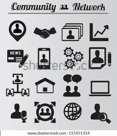 Set of network and community icons - vector icons - stock vector
