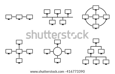 Set Network Topology Internet Connection Vector Stock Vector ...