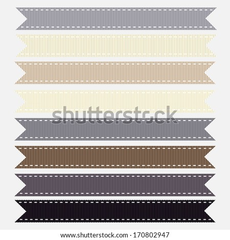 Set of Neutral Grosgrain Ribbons. Vector Illustration. Also see other color sets.
