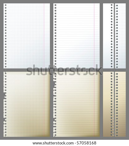 set of new and old paper pages and 2 binders - stock vector