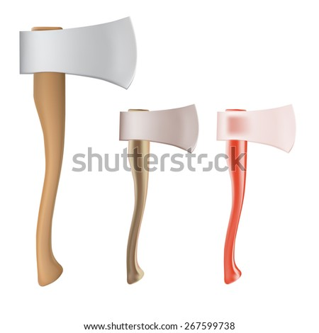 set of New ax with a shining blade and a wooden handle - stock vector