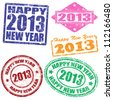 Set of 2013 new year grunge stamps, vector illustration - stock vector