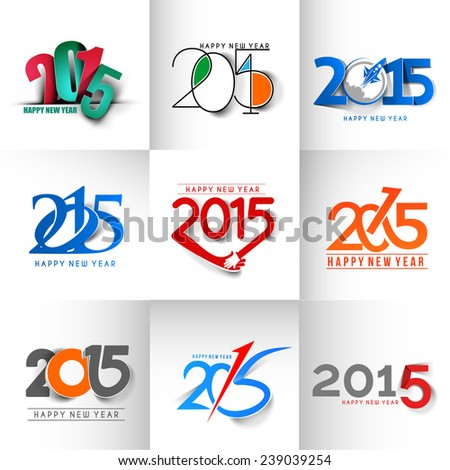 Set of New Year 2015 Text Design - stock vector