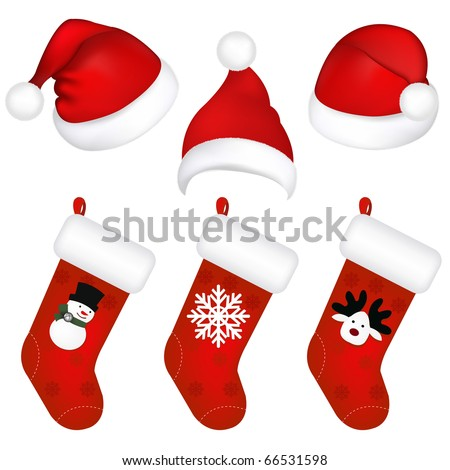 Set Of New Years Caps And Socks, Isolated On White Background, Vector Illustration - stock vector