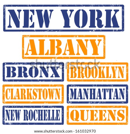 Set of New York cities stamps on white background, vector illustration - stock vector