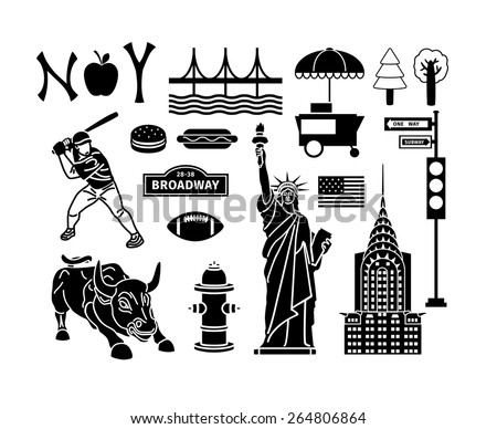 Set of New York icons. Statue liberty and manhattan, bridge and brooklyn, urban and skyscraper. Vector illustration - stock vector