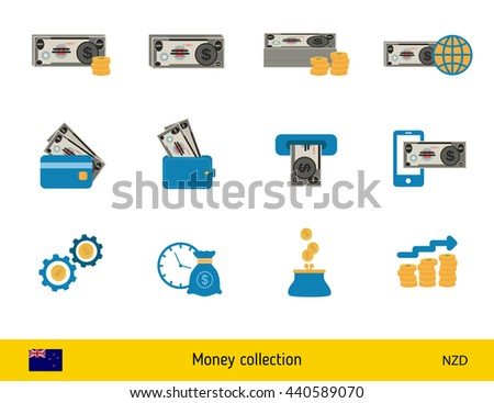 Set of New Zealand dollar. Banknote and coin of New Zealand dollar - stock vector