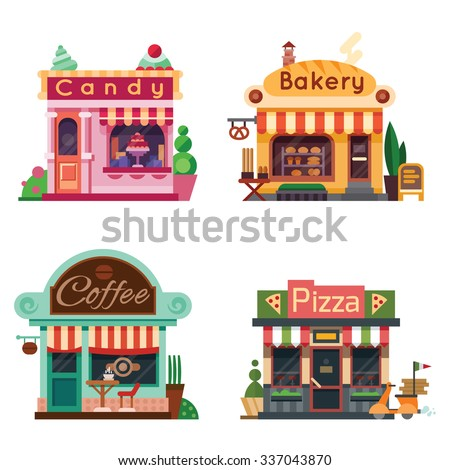 Set of nice shops. Different Showcases: bakery, candy store, pizza cafe, coffee. Flat vector illustration stock set. - stock vector