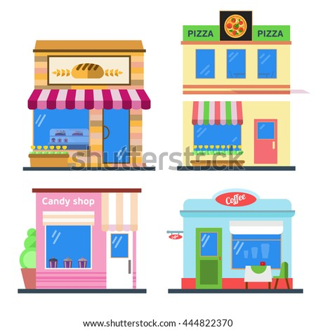 Set of nice shops. Different showcases: bakery, candy store, pizza cafe, coffee. Flat vector illustration.