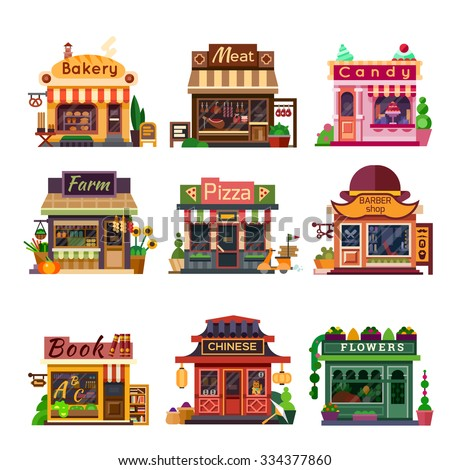 Set of nice shops. Different Showcases: bakery, meat shop, candy store, farm products,  pizza cafe, coffee, barbershop, bookstore, chinese shop, flower shop. Flat vector illustration stock set.  - stock vector