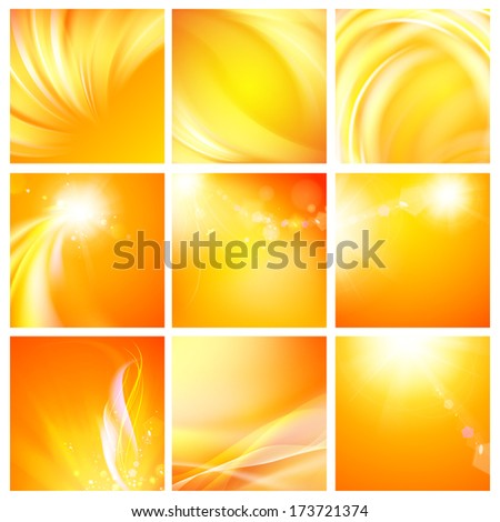 Set of nine abstract backgrounds. Vector Illustration. - stock vector