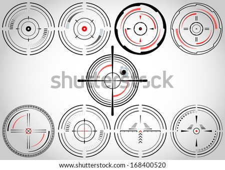 Set of nine abstract cross hairs  - stock vector