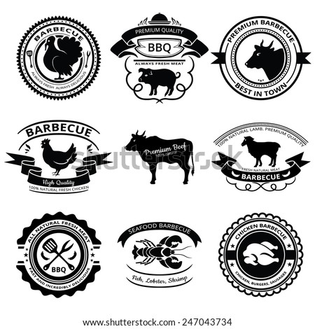 Set of nine BBQ labels with animals silhouettes. - stock vector