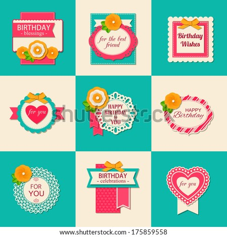 Set of nine Birthday backgrounds with paper flowers and scrapbook elements. Modern handmade / paper craft design. This vector illustration can be used as greeting card or wedding invitation. - stock vector