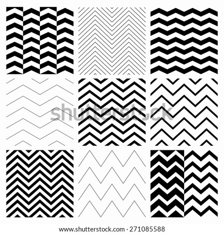Set of Nine Black and White Abstract Geometric Zigzag Seamless Patterns. with Pattern Swatches. Transparent Background. Vector Illustration