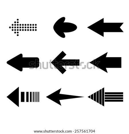 Set of nine black arrows silhouettes. eps10 - stock vector