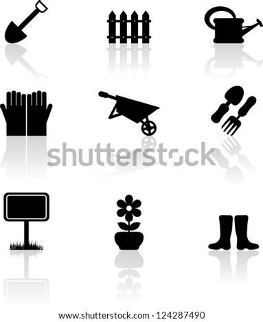 Set of nine black garden icons - stock vector