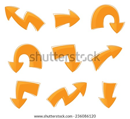 Set of nine cartoon style arrows.