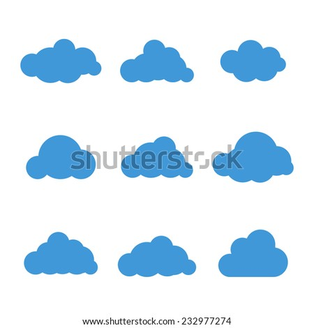 Set of nine cloud icons vector illustration - stock vector