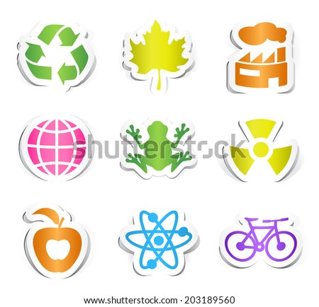 Set of Nine Colored Ecology Icons with Paper Design. - stock vector
