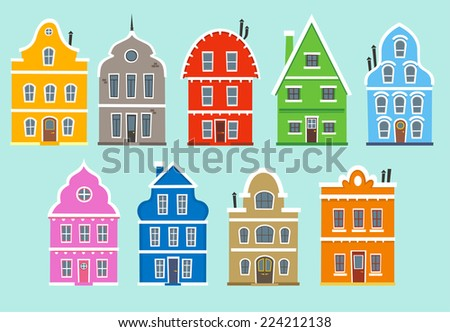 Set of nine colored houses (facades). With Color Apartment House Architectural outbuilding Construction houses vector illustration.  - stock vector