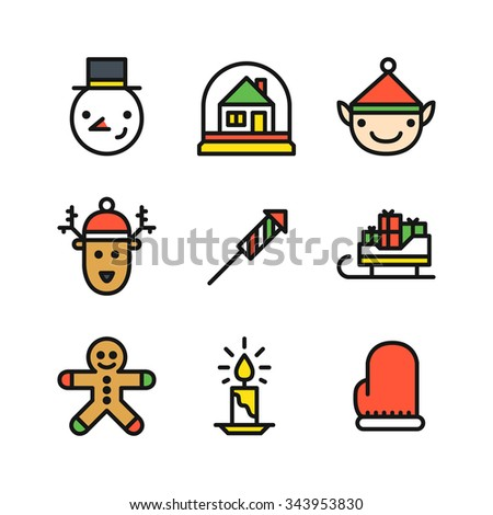 Set of nine colored outline icons for Christmas with snowman head, snow globe with house, elf and deer head, rocket, sleigh with gifts, ginger cookie man, candle and mitten - stock vector