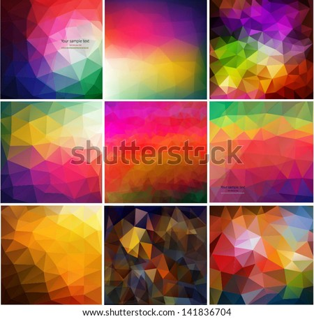 Set of nine colorful abstract geometric background with triangular polygons. Colorful mosaic of triangle - stock vector