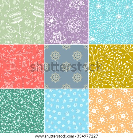 Set of nine colorful floral patterns .Seamless pattern can be used for wallpaper, pattern fills, web page background,surface textures. Floral seamless backgrounds.