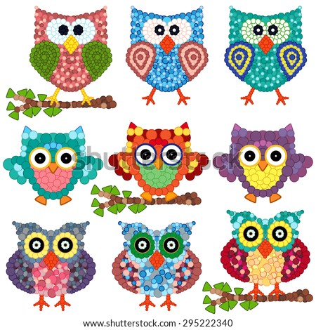 Set of nine colorful ornamental owls with circle elements isolated over white background, cartoon vector illustration - stock vector