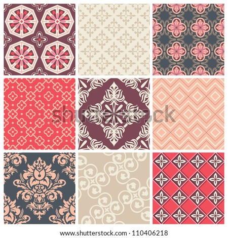 Set of nine colorful seamless patterns for backgrounds and wallpapers - stock vector