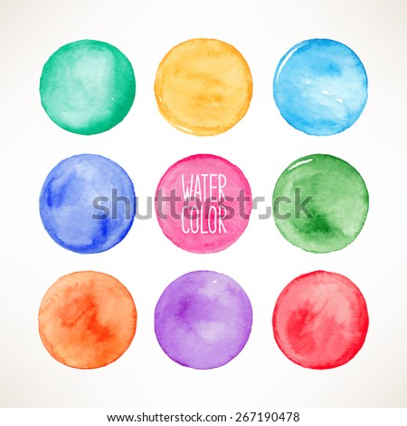 set of nine colorful watercolor round spots - stock vector