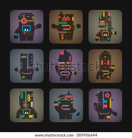 Set of nine Cute robots inside colorful cube. Retro cartoon illustration, vector.  - stock vector