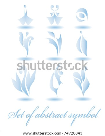 Set of nine different abstract elements for design for logo isolated on white background (vector version eps 10) - stock vector