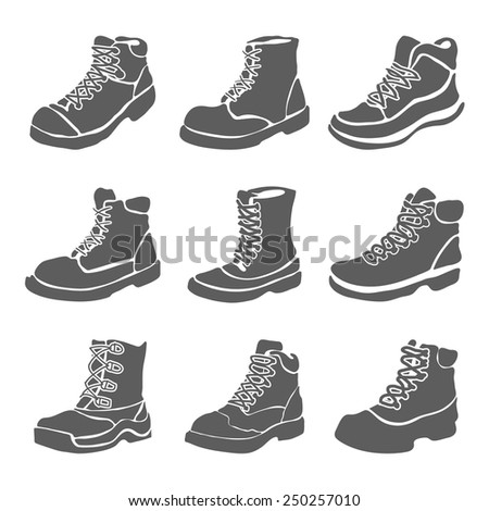 Set of nine different boots illustration isolated on white background vector - stock vector